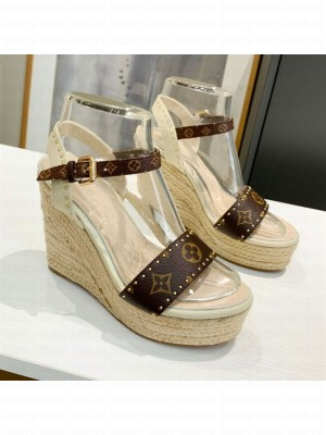Louis Vuitton Coastline Wedge Sandal in Studded Canvas White 2021 Collection
