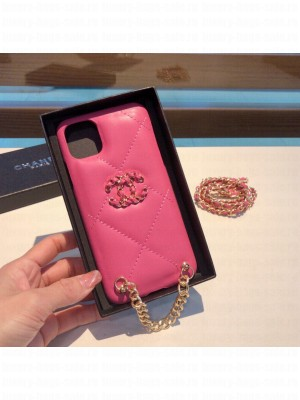 Chanel 19 Quilted Leather iPhone Case Pink 010 2021 Collection