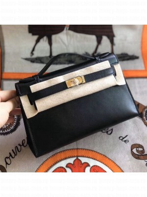 Hermes Mini Kelly Pochette 22cm in Swift Calf Leather Black/Gold  Collection