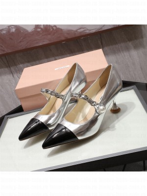 MIU MIU LEATHER POINTED PUMPS Strap with chain and button 55 mm heel Silver/Black