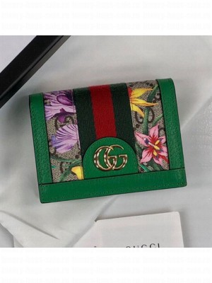 Gucci Ophidia GG Flora Card Case Wallet 523155 Green 2019 Collection