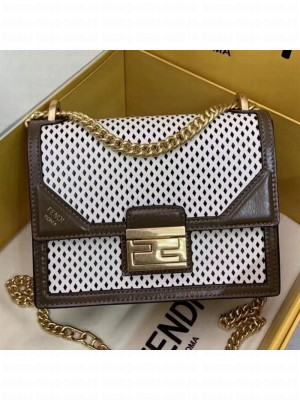 Fendi Kan U Small Embossed Corners Perforated Leather Flap Bag White 2019 Collection