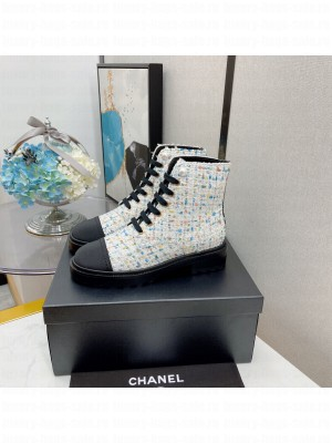 Chanel Lace Up Tweed & Satin White 010 2021 Collection
