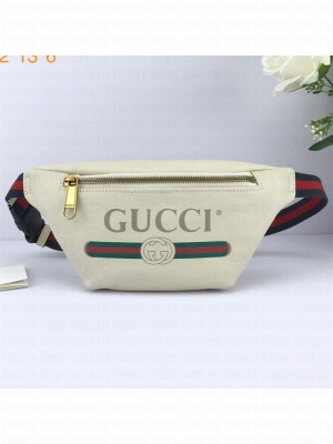 Gucci Logo Print Small Belt Bag 527792 White 2019 Collection