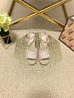 Gucci GG  Wedge Sandals Pink 2021 Collection