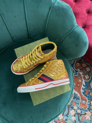 Gucci Unisex Tennis 1977 GG Multicolor high-top paillette Gold Sneaker 2021 Collection