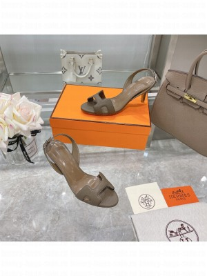Hermes Leather Heeled Sandals 7cm Beige 2021 Collection