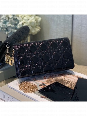 Dior Cannage Patent Leather Chain Wallet WOC Black 2019 Collection