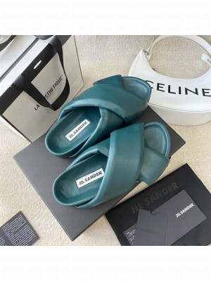 JIL SANDER platform Slippers with cleated rubber sole Green 2021 Collection