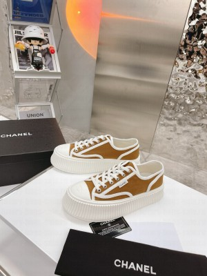Chanel Canvas Platform Sneakers Brown 2021 Collection