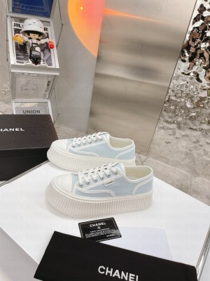Chanel Canvas Platform Sneakers Sky Blue 2021 Collection