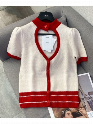 Christian Dior Women's Dioramour Short-Sleeved Cardigan Red