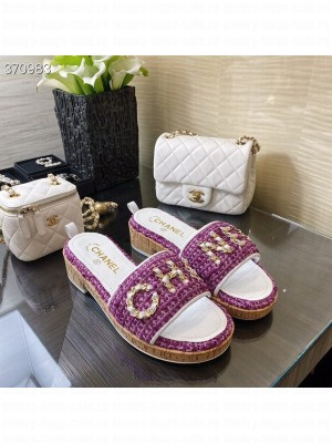 Chanel Woven Slide On Sandals Tweed/Lambskin Leather Spring/Summer 2021 Collection, Purple