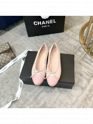 Chanel Ballerina Flats Lambskin Leather Spring/Summer 2021 Collection,Light pink