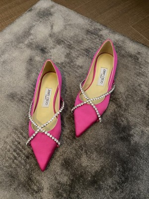 Jimmy Choo Pink silk satin with Crystal Strap Flat 10mm 2021 Collection