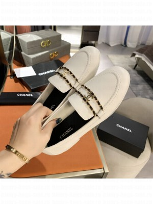Chanel Calfskin CC Chain Loafers White 2021 Collection