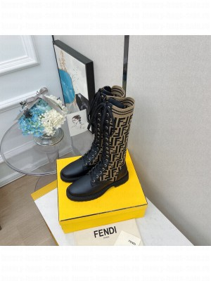 FENDI ROCKOKO Black leather high boots with stretch fabric 01 2021 Collection
