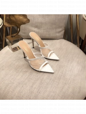 GIANVITO ROSSI Mesh MULE 105 White Spring/Summer 2021 Collection