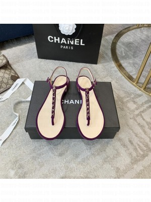 Chanel Suede Thong Slide Sandal Purple 2021 Collection