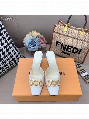 Louis Vuitton LV Circle accessory 70mm square toe White Mule 2021 Collection