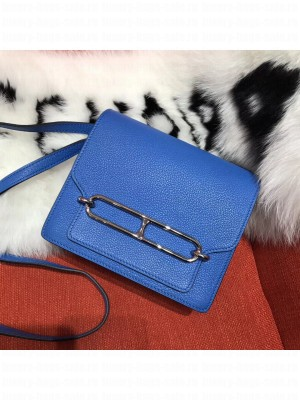 Hermes Sac Roulis Togo Leather Bag Blue 2019 Collection