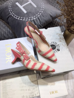 Dior J'Adior Slingback Pumps 6.5cm in Pink D-Stripes Embroidery 2021 Collection