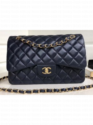 Chanel Classic Flap Jumbo/Large Bag A1113 Navy Blue in Sheepskin Leather with Gold Hardware