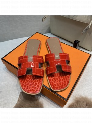 Hermes Oran Flat slippers with Stone pattern Red 075 2021 Collection