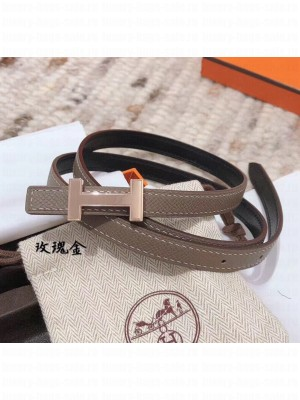 Hermes Width 1.3cm Swift & Epsom Leather Reversible Belt With H Buckle Grey 2020 Collection