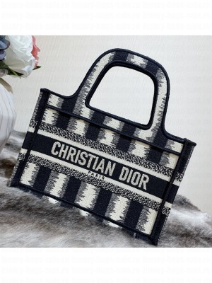 Dior Mini Book Tote Bag in Blue D-Stripes Embroidery  2021 Collection