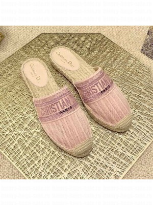 Dior Granville Espadrille Mules in Metallic Thread Embroidered Cotton Pink Spring/Summer 2021 Collection