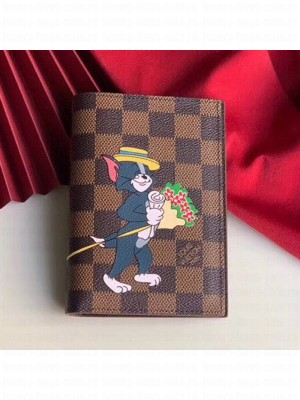 Louis Vuitton Damier Ebene Canvas Tom and Jerry Print Passport Cover N64411 2019 Collection