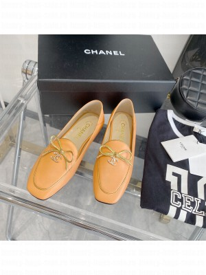 Chanel Leather Bow CC Pendant Loafers Orange 2021 Collection