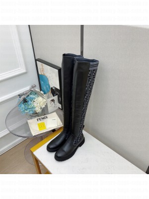 FENDI ROCKOKO Black leather Over-the-Knee Boots with Gray stretch fabric 02 2021 Collection
