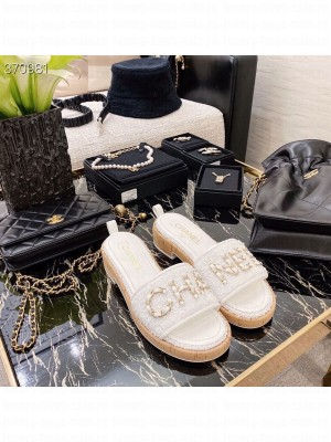 Chanel Woven Slide On Sandals Tweed/Lambskin Leather Spring/Summer 2021 Collection, White
