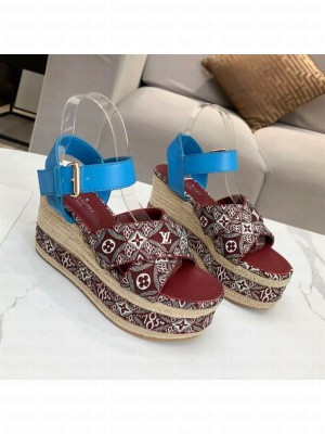 Louis Vuitton Since 1854 Boundary Wedge Sandal Burgundy 2021 Collection