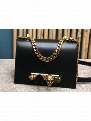 Alexander Mcqueen Small Jewelled Satchel Bag Smooth Calf Leather Black/Gold
