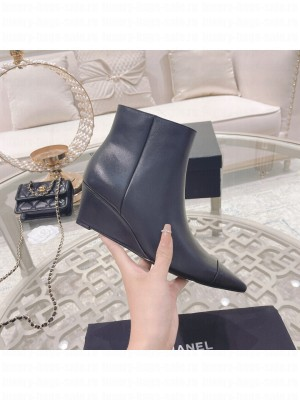 Chanel Sheepskin Pointed Wedge Ankle Boot black 2021 Collection