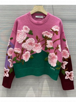 Valentino Women's Cashmere Embroidered Sweater Pink