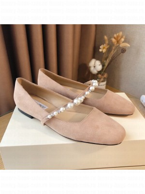 Jimmy Choo AMAYA FLAT Light pink suede with Pearl Embellishment 2021 Collection