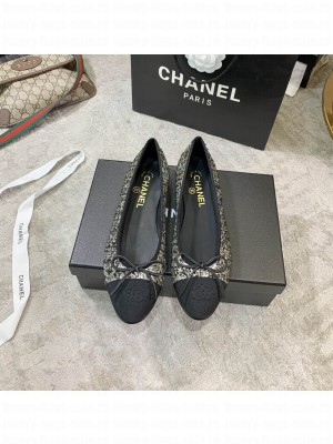 Chanel Ballerina Flats Tweed/Lambskin Leather Spring/Summer 2021 Collection, Gold/Black