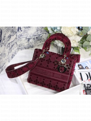 Christian Dior D-Lite Lady Dior Bag 24cm Velvet Embroidered Canvas Gold Hardware Fall/Winter 2020 Collection,  Burgundy