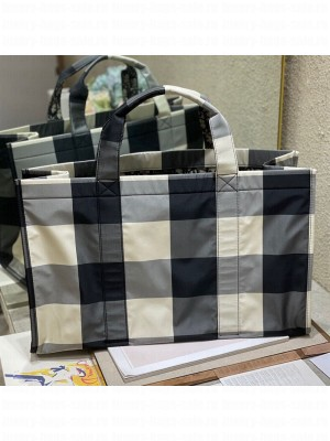 Dior Large Book Tote Bag in Check Fabric Black/Grey  2021 Collection