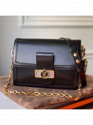 Louis Vuitton Dauphine MM Smooth Leather Shoulder Bag M55735 Black 2020 Collection