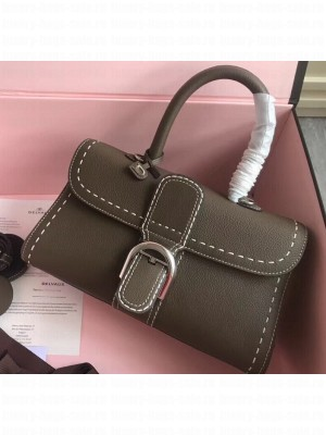 Delvaux Brillant East/West Mini Tote Bag In Togo Leather Large Elephant Gray