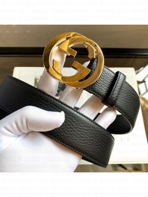 Gucci Calfskin Belt 38mm with Interlocking Shiny G Buckle Black/Gold 2020 Collection