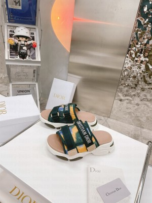 DIOR GREEN MULTICOLOR TECHNICAL FABRIC D-WANDER SLIDE 2021 Collection