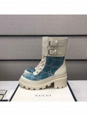Gucci Women's boot with Interlocking G Blue/White 2021 Collection 02