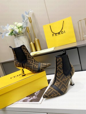 Fendi 8.5cm Brown fabric Ankle Boot 2021 Collection