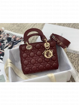 Dior MY ABCDior Medium Bag in Cannage Leather Burgundy 2019 Collection